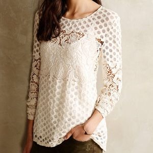 Cream Lace and Polka Dot Sheer Long Sleeved Shirt
